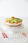 Salmon-Avocado Sushi Cake