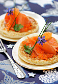 Homemade Blinis With Salmon Roe And Salmon