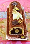 Chocolate And Pear Log Cake