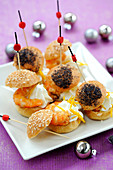 Gambas And Citrus Fruit Espuma Puff Pastries