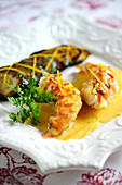 Spiny Lobsters With Citrus Fruit Butter,Roasted Courgettes