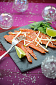 Salmon Marinated With Lime And Spices,Green Apple Sticks