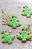 Christmas Tree Glazed Shortbreads