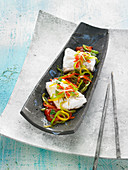 Salt-Cod With Tomato Sauce,Thinly Sliced 3 Coulored Peppers