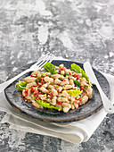 White Haricot Bean,Two Pepper And Lettuce Heart Salad