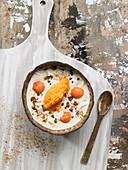 Joghurt mit Cashewnüssen, Papaya, Kokos, Schokostücken und Agavensirup