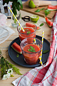 Watermelon,Lime And Mint Juice