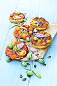 Tomato,Mini Cucumber And Squash Seed Mini Pizzas