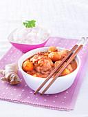 Geflügelstückchen mit Ingwer, Basmatireis