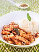 Sliced Turkey In Curry Sauce,Basmati Rice