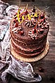 Chocolate,Praline And Hazelnut Naked Cake