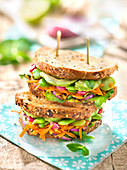 Broad Bean,Grated Carrot,Avocado And Red Onion Toasted Cereal Bread Vegan Sandwich