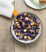 Red Cabbage,Chestnut And Smoked Tofu Stir Fry