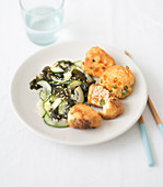 Cucumber And Wakame Seaweed Salad,Tofu And Vegetable Fritters