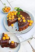 Chocolate Fondant With Yellow Raspberries