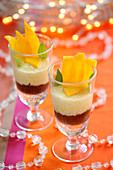 Light fruit mousse and chocolate desserts