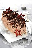 Chocolate and hazelnut log cake