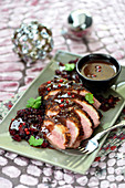 Duck magret with berries,Marchand de vin sauce