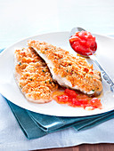 Dory fillets in crust,virgin tomato sauce