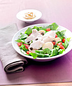 Thinly slice mixed vegetable salad with capers