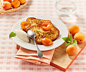Brioche french toast with stewed apricots and vanilla ice cream