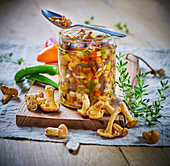 Jar of marinated chanterelles