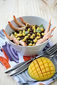 Lentil,gambas and mango salad
