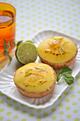 Lemon-lime and honey tartlets