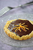 Chocolate and orange zest puff pastry tartlet