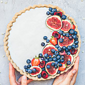 Red fruit and fig tart