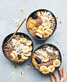 Chocolate,banana and toffee smoothie bowl
