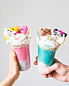Funny colored ice cream smoothies