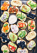 Assortment of sweet and salty crostinis