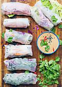 Rainbow rice galette rolls,cashew sauce