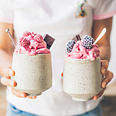 Raspberry and blackberry ice cream smoothies