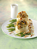 Farmer's stuffed celeriac,green beans with dried fruit and Roquefort sauce