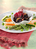 Beetroot stewed with honey and thinly sliced almonds,mixed spring vegetables