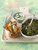 Swiss chard,herb and spinach gratin,baked potatoes with chive cream