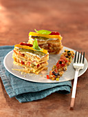 Pepper Mille-feuille and diced ratatouille with basil