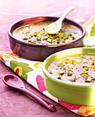Crème brûlée with crushed pistachios