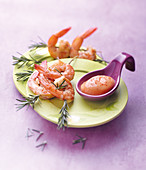 Shrimp-rosemary brochettes,cocktail sauce