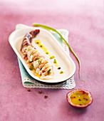 Shrimp ceviche with passionfruit sauce
