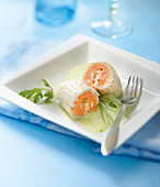Shrimp and tomato mousse fish rolls ,herb emulsions