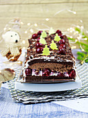 Black Forest-style Christmas log cake