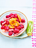 Summer fruit salad with pistachio biscuit