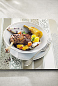 Duck with plantain bananas,chocolate and radish