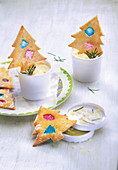 Fir tree honey ice cream with Christmas tree biscuits