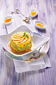Avocado-papaya timbale