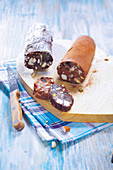 Milk and dark chocolate sausages