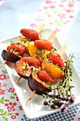 Fruit brochettes with lemon thyme